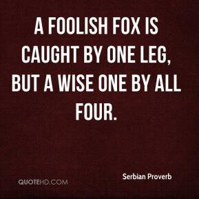 Serbian Proverb  - A foolish fox is caught by one leg, but a wise one by all four.
