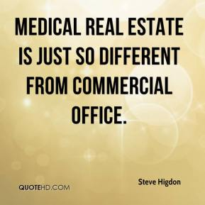 Steve Higdon  - Medical real estate is just so different from commercial office.