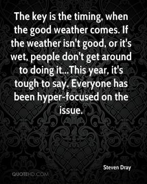 The key is the timing, when the good weather comes. If the weather isn't good, or it's wet, people don't get around to doing it...This year, it's tough to say. Everyone has been hyper-focused on the issue.