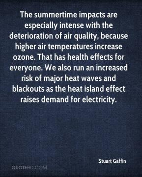 Stuart Gaffin  - The summertime impacts are especially intense with the deterioration of air quality, because higher air temperatures increase ozone. That has health effects for everyone. We also run an increased risk of major heat waves and blackouts as the heat island effect raises demand for electricity.
