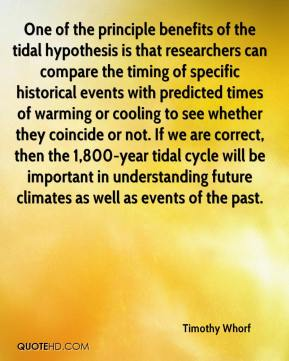 Timothy Whorf  - One of the principle benefits of the tidal hypothesis is that researchers can compare the timing of specific historical events with predicted times of warming or cooling to see whether they coincide or not. If we are correct, then the 1,800-year tidal cycle will be important in understanding future climates as well as events of the past.
