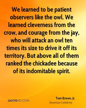 Tom Brown, Jr. - We learned to be patient observers like the owl. We learned cleverness from the crow, and courage from the jay, who will attack an owl ten times its size to drive it off its territory. But above all of them ranked the chickadee because of its indomitable spirit.