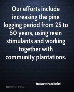 Transtoto Handhadari  - Our efforts include increasing the pine logging period from 25 to 50 years, using resin stimulants and working together with community plantations.