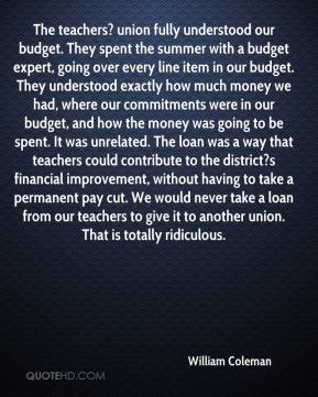 The teachers? union fully understood our budget. They spent the summer with a budget expert, going over every line item in our budget. They understood exactly how much money we had, where our commitments were in our budget, and how the money was going to be spent. It was unrelated. The loan was a way that teachers could contribute to the district?s financial improvement, without having to take a permanent pay cut. We would never take a loan from our teachers to give it to another union. That is totally ridiculous.