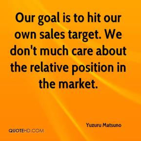 Yuzuru Matsuno  - Our goal is to hit our own sales target. We don't much care about the relative position in the market.