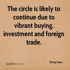Zhang Liqun  - The circle is likely to continue due to vibrant buying, investment and foreign trade.