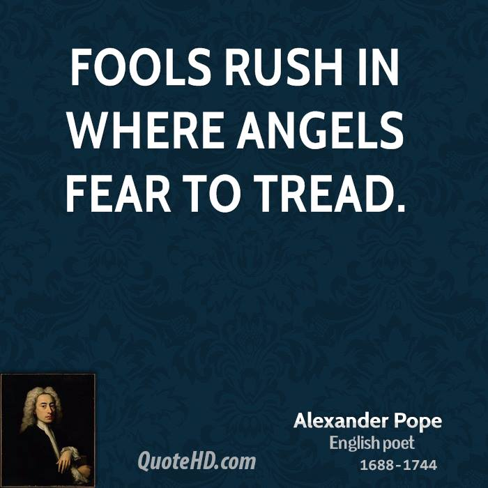fools rush in where angels fear to tread essay What's the meaning and origin of the phrase 'fools rush in where angels fear to tread.