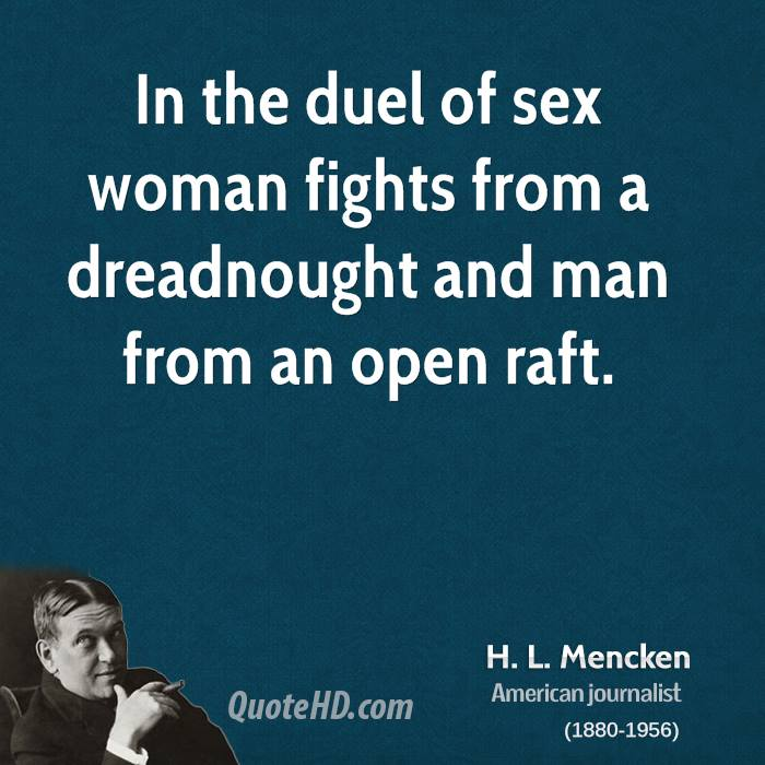 In the duel of sex woman fights from a dreadnought and man from an open raft.