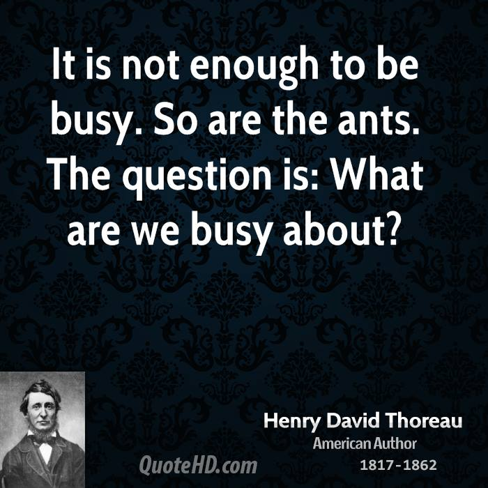 It is not enough to be busy. So are the ants. The question is: What are we busy about?