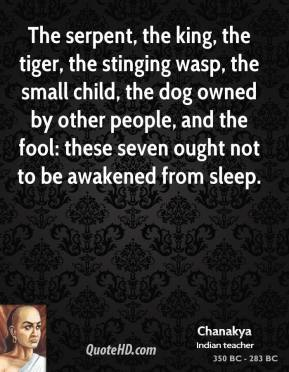 Chanakya - The serpent, the king, the tiger, the stinging wasp, the small child, the dog owned by other people, and the fool: these seven ought not to be awakened from sleep.