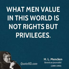 H. L. Mencken - What men value in this world is not rights but privileges.