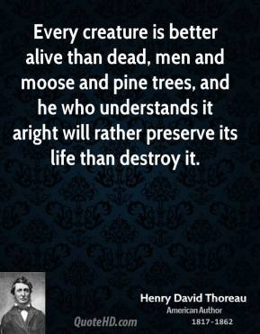 Henry David Thoreau - Every creature is better alive than dead, men and moose and pine trees, and he who understands it aright will rather preserve its life than destroy it.