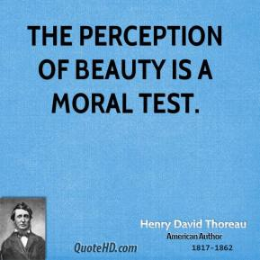Henry David Thoreau - The perception of beauty is a moral test.