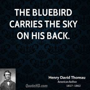 Henry David Thoreau - The bluebird carries the sky on his back.