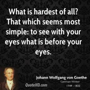 What is hardest of all? That which seems most simple: to see with your eyes what is before your eyes.