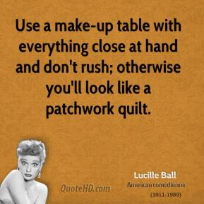 Use a make-up table with everything close at hand and don't rush; otherwise you'll look like a patchwork quilt.