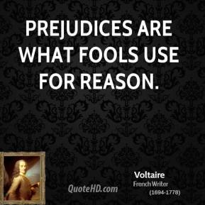 Voltaire - Prejudices are what fools use for reason.