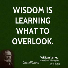 Wisdom is learning what to overlook.
