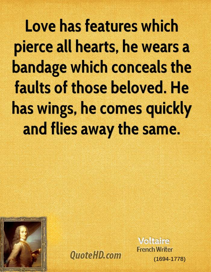 Love has features which pierce all hearts, he wears a bandage which conceals the faults of those beloved. He has wings, he comes quickly and flies away the same.