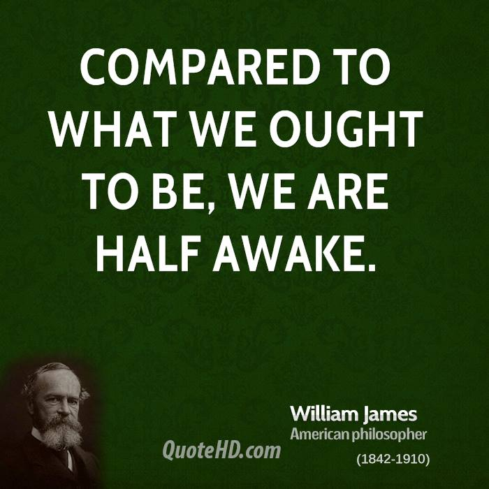 Compared to what we ought to be, we are half awake.