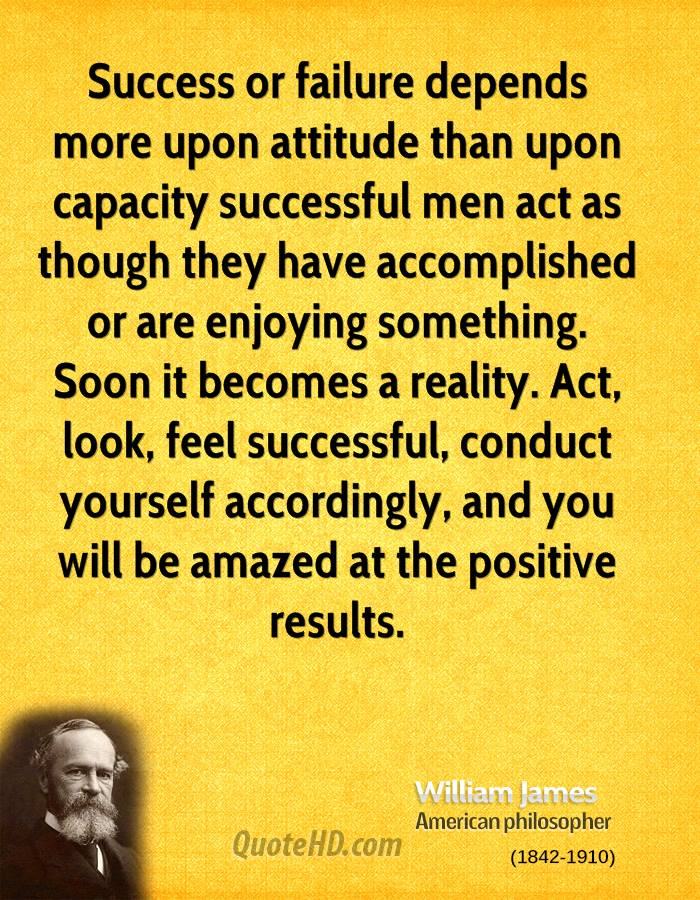 Success or failure depends more upon attitude than upon capacity successful men act as though they have accomplished or are enjoying something. Soon it becomes a reality. Act, look, feel successful, conduct yourself accordingly, and you will be amazed at the positive results.