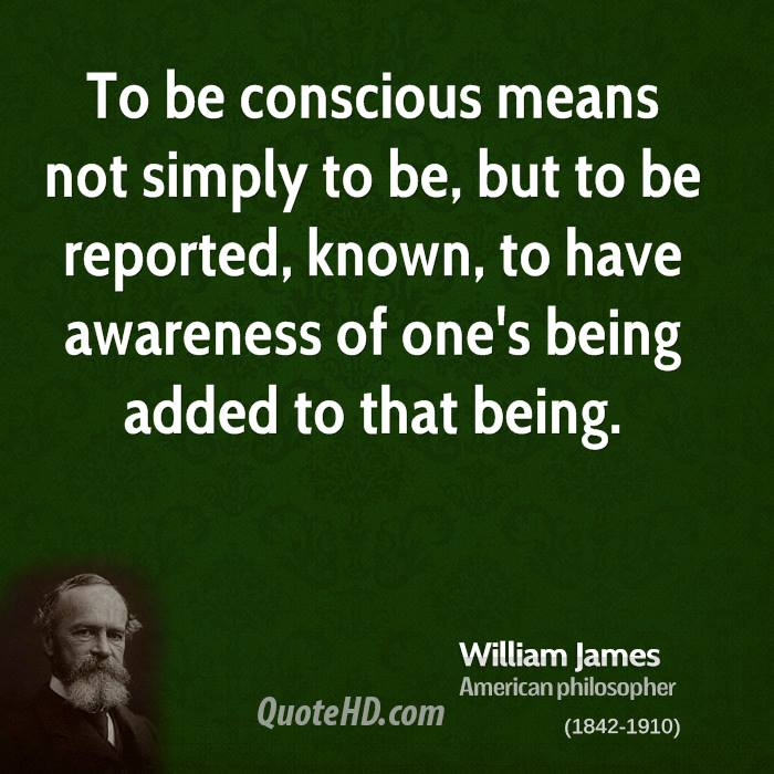 To be conscious means not simply to be, but to be reported, known, to have awareness of one's being added to that being.