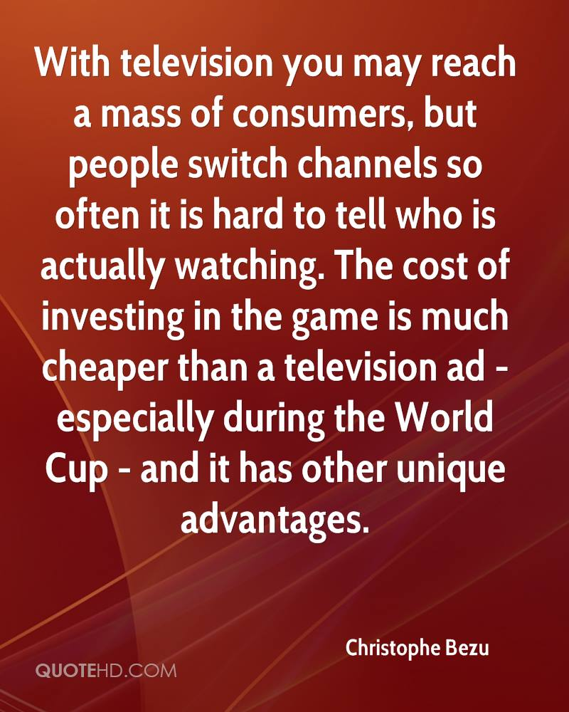 With television you may reach a mass of consumers, but people switch channels so often it is hard to tell who is actually watching. The cost of investing in the game is much cheaper than a television ad - especially during the World Cup - and it has other unique advantages.