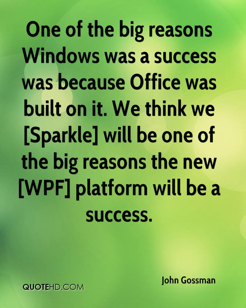 One of the big reasons Windows was a success was because Office was built on it. We think we [Sparkle] will be one of the big reasons the new [WPF] platform will be a success.