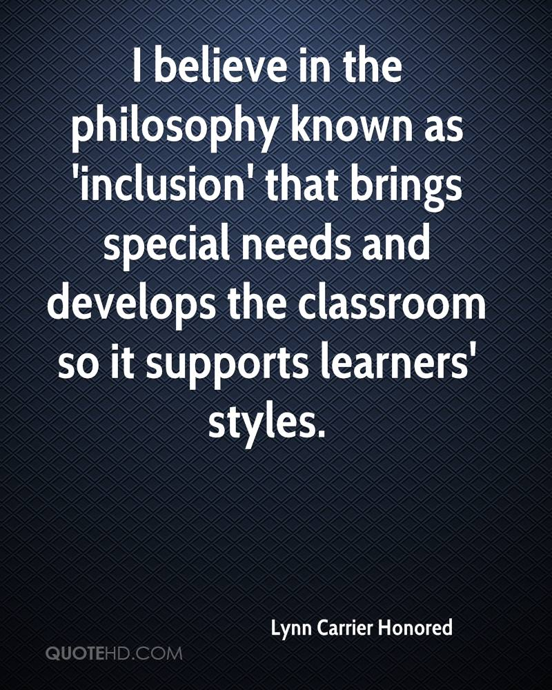 philosophy of inclusion Develop a program philosophy on inclusion to ensure shared assumptions and beliefs about inclusion, and to identify quality inclusive  early childhood inclusion: a.