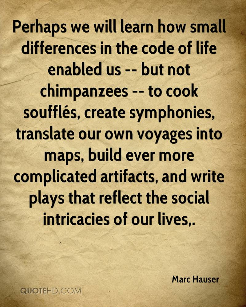 Perhaps we will learn how small differences in the code of life enabled us -- but not chimpanzees -- to cook soufflés, create symphonies, translate our own voyages into maps, build ever more complicated artifacts, and write plays that reflect the social intricacies of our lives.