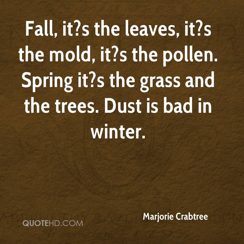 Fall, it?s the leaves, it?s the mold, it?s the pollen. Spring it?s the grass and the trees. Dust is bad in winter.