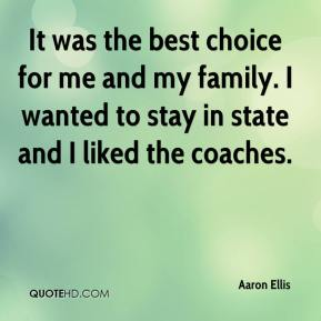 Aaron Ellis - It was the best choice for me and my family. I wanted to stay in state and I liked the coaches.