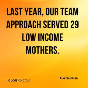 Alversa Milan - Last year, our team approach served 29 low income mothers.