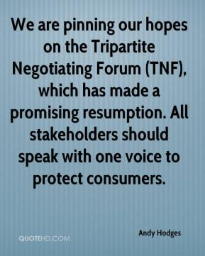 Andy Hodges - We are pinning our hopes on the Tripartite Negotiating Forum (TNF), which has made a promising resumption. All stakeholders should speak with one voice to protect consumers.
