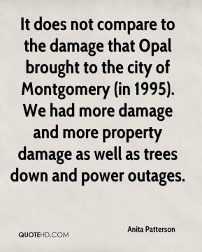 Anita Patterson - It does not compare to the damage that Opal brought to the city of Montgomery (in 1995). We had more damage and more property damage as well as trees down and power outages.
