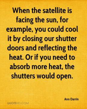 Ann Darrin - When the satellite is facing the sun, for example, you could cool it by closing our shutter doors and reflecting the heat. Or if you need to absorb more heat, the shutters would open.
