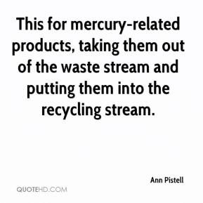 Ann Pistell - This for mercury-related products, taking them out of the waste stream and putting them into the recycling stream.