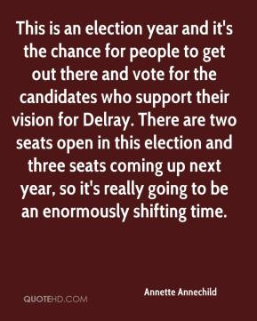 Annette Annechild - This is an election year and it's the chance for people to get out there and vote for the candidates who support their vision for Delray. There are two seats open in this election and three seats coming up next year, so it's really going to be an enormously shifting time.