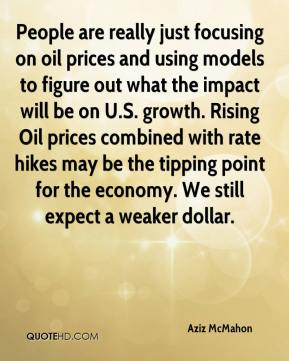 Aziz McMahon - People are really just focusing on oil prices and using models to figure out what the impact will be on U.S. growth. Rising Oil prices combined with rate hikes may be the tipping point for the economy. We still expect a weaker dollar.
