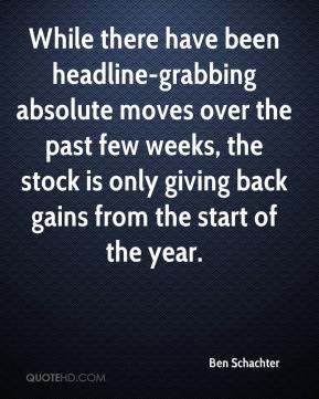Ben Schachter - While there have been headline-grabbing absolute moves over the past few weeks, the stock is only giving back gains from the start of the year.