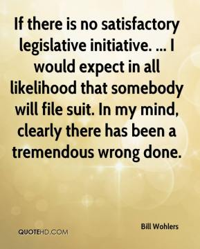Bill Wohlers - If there is no satisfactory legislative initiative. ... I would expect in all likelihood that somebody will file suit. In my mind, clearly there has been a tremendous wrong done.