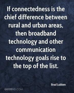 Brad Lubben - If connectedness is the chief difference between rural and urban areas, then broadband technology and other communication technology goals rise to the top of the list.