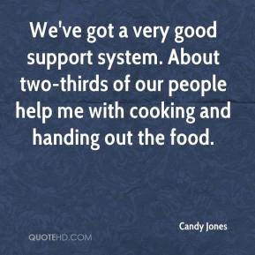 Candy Jones - We've got a very good support system. About two-thirds of our people help me with cooking and handing out the food.