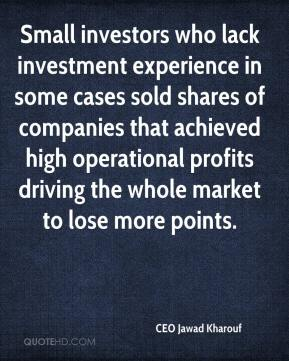 Small investors who lack investment experience in some cases sold shares of companies that achieved high operational profits driving the whole market to lose more points.