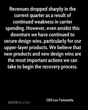 CEO Lou Tomasetta - Revenues dropped sharply in the current quarter as a result of continued weakness in carrier spending. However, even amidst this downturn we have continued to secure design wins, particularly for our upper-layer products. We believe that new products and new design wins are the most important actions we can take to begin the recovery process.