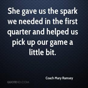 Coach Mary Ramsey - She gave us the spark we needed in the first quarter and helped us pick up our game a little bit.