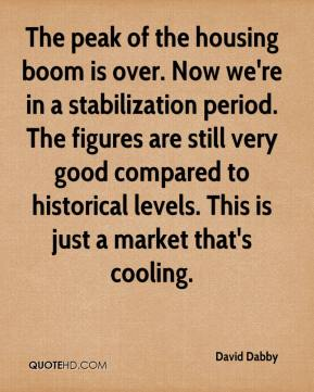 David Dabby - The peak of the housing boom is over. Now we're in a stabilization period. The figures are still very good compared to historical levels. This is just a market that's cooling.