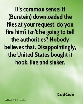 It's common sense: If (Burstein) downloaded the files at your request, do you fire him? Isn't he going to tell the authorities? Nobody believes that. Disappointingly, the United States bought it hook, line and sinker.