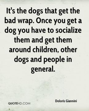 Doloris Giannini - It's the dogs that get the bad wrap. Once you get a dog you have to socialize them and get them around children, other dogs and people in general.