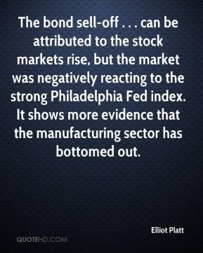 Elliot Platt - The bond sell-off . . . can be attributed to the stock markets rise, but the market was negatively reacting to the strong Philadelphia Fed index. It shows more evidence that the manufacturing sector has bottomed out.